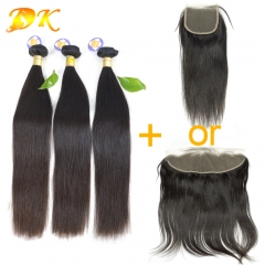 Straight 2/3/4 Bundles with Closure 13x4 13x6 Luxury Raw Hair