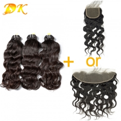 Indian Wavy 2/3/4 Bundles with Closure 13x4 13x6 Luxury Raw Hair