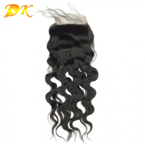 4x4 Closure & Silk base Natural Wave virgin hair 7A