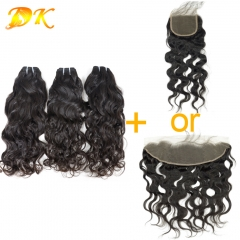 Natural Wave  2/3/4 Bundles with Closure 4x4 5x5 6x6 Luxury Raw Hair
