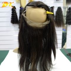 360 Lace Frontal 22.5x4x2, Human Virgin Hair Straight Full Lace Band Frontal