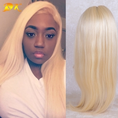 613# Blonde Straight Half lace frontal Wig 100% human virgin hair