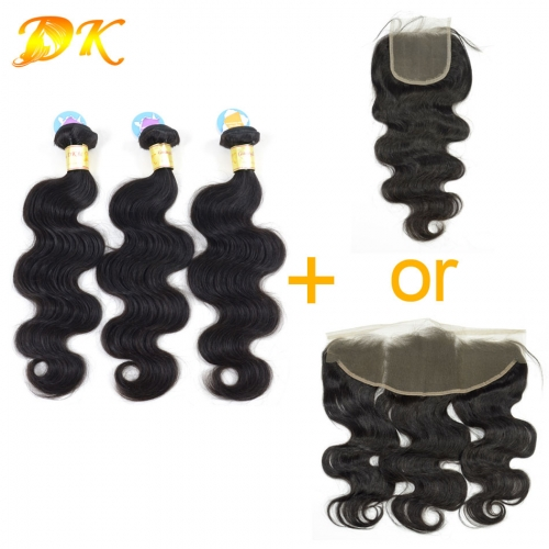 3 or 4 bundles + Closure Frontals Body Wave Brazilian virgin hair weave 5A+