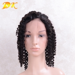Jerry Curl Hair Half lace frontal Wig 100% human Regular hair