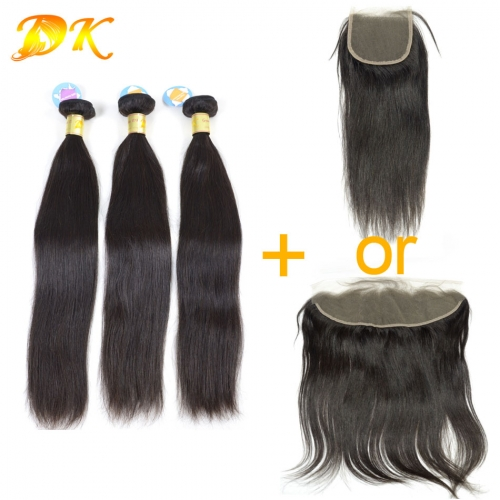 3 or 4 bundles + Closure Frontals Straight Brazilian virgin hair weave 5A+