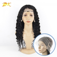 Deep wave  Hair Full lace Wig 100% human Deluxe hair