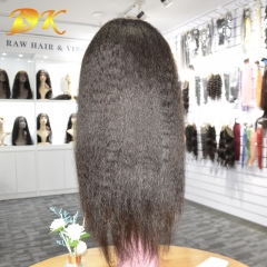Kinky Straight Hair Half lace frontal Wig 100% human Plus hair