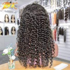 Deep Wave Hair Half lace frontal Wig 100% human Plus hair