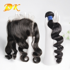 Loose Wave Bundle deals with Frontal 13x4 13x6 Deluxe Virgin Hair