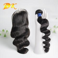 Loose Wave Bundle deals with Closure 4x4 5x5 6x6 Deluxe Virgin Hair