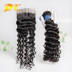 Deep Curly Bundle deals with Closure 4x4 5x5 6x6 Deluxe Virgin Hair