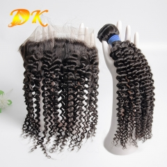 Jerry Kinky Curly Bundle deals with Frontal 13x4 13x6 Deluxe Virgin Hair