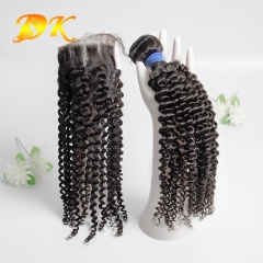 Jerry Curly Bundle deals with Closure 4x4 5x5 6x6 Deluxe Virgin Hair