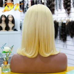 Blonde 613# Color Straight Half lace Bob Wig 150% Density Deluxe human virgin hair