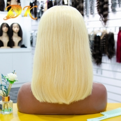 Blonde 613# Color Straight full lace Bob Wig 150% Density Deluxe human virgin hair