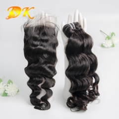 Indian Wavy 2/3/4 Bundles with Closure 4x4 5x5 6x6 Deluxe Virgin Hair