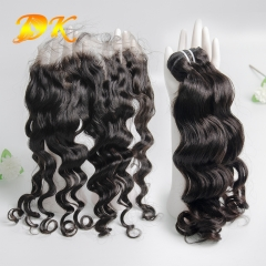 Indian Wavy 2/3/4 Bundles with Frontal 13x4 13x6 Deluxe Virgin Hair